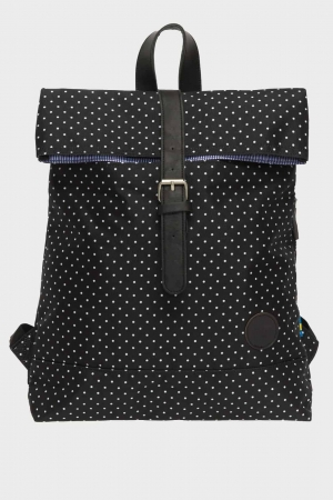 Enter-Fold-Top-Backpack-BlackWhite-Polka-Dot-Print-Rucksack-black-white-weiß
