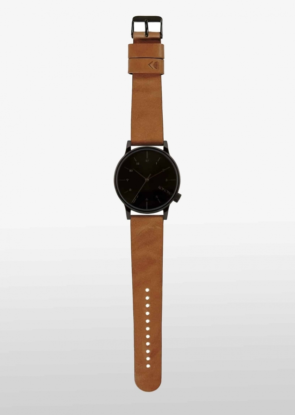 KOMONO WINSTON REGAL Edelstahl mit Leder-Armband Cognac KOM-W2253_2