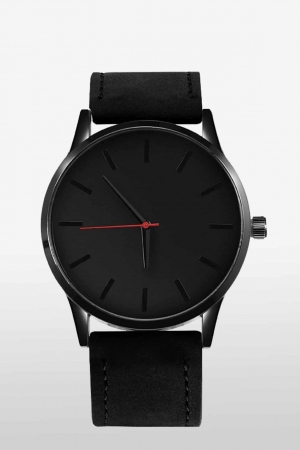 Edelstahl Uhr Black Edition schwarz Armband Uhr Herren Herrenuhr Lederarmband