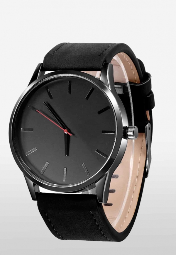 Edelstahl Uhr Black Edition schwarz Armband Uhr Herren Herrenuhr Lederarmband 2
