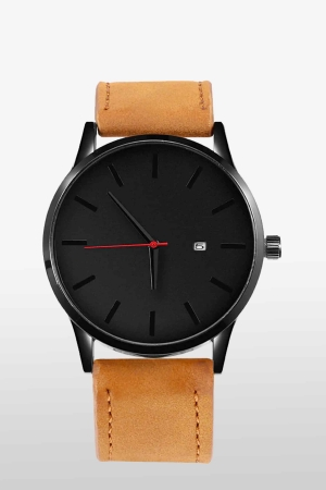 Herren-Uhr-Cognac-Schwarz-Leder