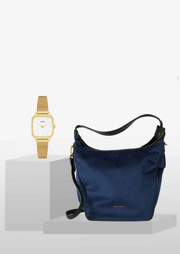 STYLEPAKET- Kate Liv Blue-Gold Paket- Marc O'Polo Liv Schultertasche schwarz + Komono Kate Royale Uhr Watch Gold