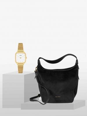 STYLEPAKET- Kate Liv Paket- Marc O'Polo Liv Schultertasche schwarz + Komono Kate Royale Uhr Watch Gold