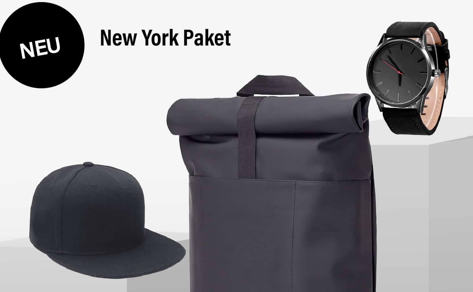 STYLEKRONE »New York Paket« Ucon Acrobatics Lotus HAJO Rucksack + Edelstahl Uhr Black Edition mit Leder-Armband Schwarz + Cap Black Edition aus Canvas
