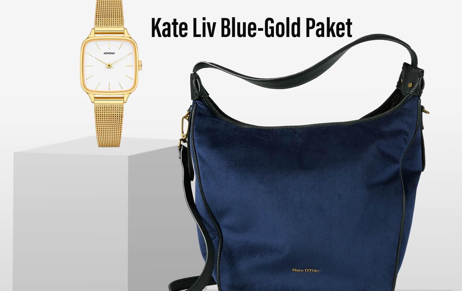 STYLEKRONE KATE Liv Blue-Gold Paket Marc O'Polo Liv Schultertasche + Komono Kate Gold Uhr Damen