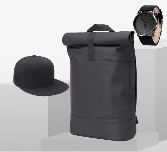 STYLEPAKET- New York Paket- Ucon Acrobatics Hajo Lotus Rucksack black schwarz + Baseball Cap + Uhr Black Edition