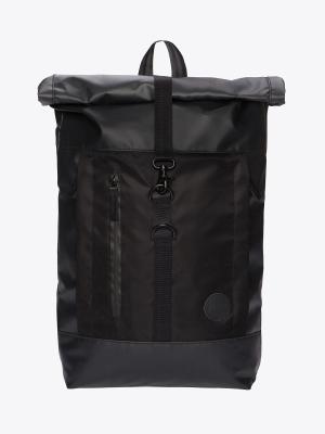 Enter Hiker Roll Top Rucksack Backpack Black Waterproof Black Heavy Nylon Black Leather schwarz wasserdicht_0